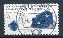 BRD 2015 Mi. 3198 Gest. Technische Universität Bergakademie Freiberg Bergkristall Rundstempel - Mineralien