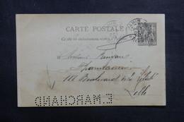 """FRANCE - Entier Postal Type Sage De Paris Pour Lille En 1893, Perforé """" E. MARCHAND """" - L 40987 - Entiers Postaux"""