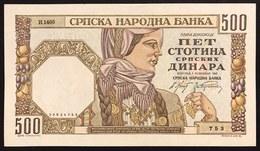 YUGOSLAVIA JUGOSLAVIA Serbia 500 Dinara 1941 Pick#27 Q.FDS / UNC- Lotto.537 - Jugoslavia