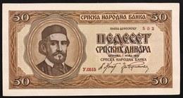 YUGOSLAVIA JUGOSLAVIA Serbia  50 Dinara 1942 VF Germany Occupation World War II Q.FDS / UNC- Lotto.126 - Jugoslavia