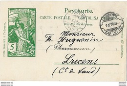 162 - 76 - Entier Postal UPU Avec Cachet Lame De Rasoir Lausanne 1900 - Postwaardestukken