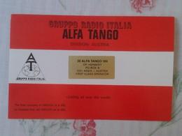 POSTAL POST CARD QSL RADIOAFICIONADOS RADIO AMATEUR GRUPPO ALFA TANGO ITALIA AUSTRIA ÖSTERREICH AUTRICHE FLAG BANDERA - Tarjetas QSL