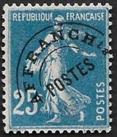 Preo  56 -  Semeuse 25c Bleu - Sans Gomme - Préoblitérés
