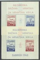 HR 1942-74-7 AIR PLAIN MODEL, CROATIA, Michel # Bl. 1 & 2, 2Bl, MNH - Kroatien