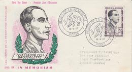 Env.  FDC  1er  Jour   FRANCE    Héros  De  La   Résistance   Pierre  BROSSOLETTE   Oblit  Grand  Format   PARIS  1957 - 1950-1959