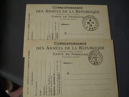 Lot De 3 Tresor Et Postes 23 Double Et Simple Cercle Carte Franchise Postale Militaire Guerre 14.18 - Marcophilie (Lettres)