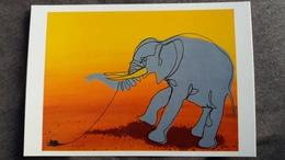 ELEPHANT CARTE SERIE TROMPE L OEIL ILLUSTRATEUR DOBRITZ SOURICEAU ELEPHANT SOT HUMOUR - Elefantes