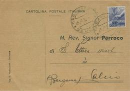 """CARAVAGGIO(BERGAMO)-RICEVUTA DI NOTIFICAZIONE MATRIMONIO,1950,PER PARROCCHIA DI """"S.VITTORE M.""""CALCIO(BERGAMO), - Nozze"""