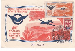 GRANDE EXPOSITION  PHILATELIQUE  INTERNATIONALE DE POSTE AERIENNE ,,,,NICE,,,,ENTIER POSTAL   19477,,,, - Luftpost