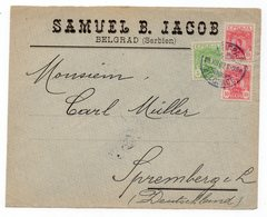 1903 SERBIA JUDAICA, BELGRADE TO GERMANY, SAMUEL  JACOB, LETTER FRONT ONLY - Serbia