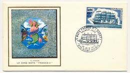 """FRANCE-REUNION - Enveloppe Thiaude FDC - Le Cinq Mats """"France-II"""" - 10 Juin 1973 - Reunion Island (1852-1975)"""