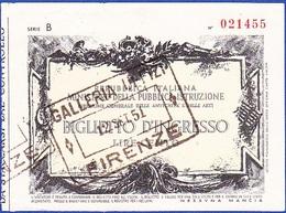 Itália, 1951 - Ticket/ Biglietto D'Ingresso / Galeria Uffizi, Firenze - Biglietti D'ingresso