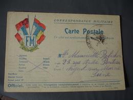 F M BLASON 4 DRAPEAUX LAURIER EDI L  D Carte Franchise Postale Militaire Guerre 14.18 - Marcophilie (Lettres)