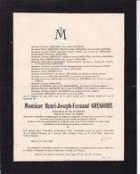 HUY La SARTE TIHANGE Procureur Henri GREGOIRE 1853-1921 Familles DUFRENOY DELLOYE De LALANDE - Obituary Notices