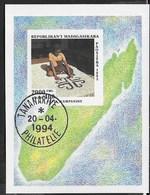 MADAGASCAR - 1994 - ARTIGIANATO - TESSITURA TAPPETI - FOGLIETTO USATO (YVERT BF91 - MICHEL 255) - Madagascar (1960-...)