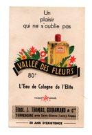 Publicité Vallée Des Fleurs Eau De Cologne Format 6 X 9cm Dos Uni - Perfume & Beauty