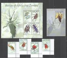 X1028 2005 ZAMBIA BEETLES OF AFRICA #1499-06 MICHEL 15,9 EURO KB+BL+SET MNH - Altri