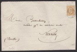 INDRE ET LOIRE: Pli Imprimé Avec 10c Empire Lauré Oblt CàD Type 15 LANGEAIS (36) > NANCY - 1849-1876: Période Classique