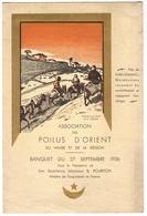 """1936 LE HAVRE - MENU Illustré Association POILUS D'ORIENT à """"La Grande Cour"""" - Menus"""