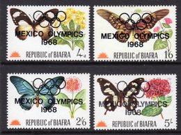 NIGERIA BIAFRA - 1968 BUTTERFLIES MEXICO OLYMPICS O/P SET (4V) FINE MNH ** SG SEE NOTE BELOW SG 17-21 - Nigeria (1961-...)