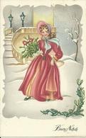 """Cartolina """"Buon Natale"""", Ragazza Con Rami Verdi, Illustrazione, Barnini Illustratore (I07) - Weihnachten"""