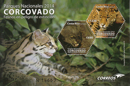 2014 Costa Rica Wild Cats Endangered Species Souvenir Sheet Complete MNH - Costa Rica
