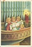 """Cartolina """"Buon Natale"""", Piccoli Angeli Cantano Al Suono Dell'Organo, Illustrazione, Edy Illustratore (I11) - Other"""