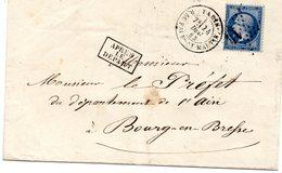 Paris - LAC Affr N° 22 Obl Etoile 14 R. Du Faubg-St-Martin - Marcophilie (Lettres)
