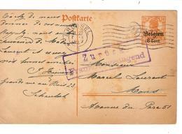 3351/ Entier CP Belgien 8 Cent C.BXL 7/10/17 > Mons Griffe Mauve Encadrée Zurück Franko Angenügend - WW I