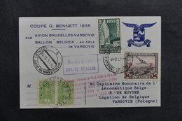 BELGIQUE - Carte De La Coupe Bennett Par Avion Et Par Ballon En 1935 Pour Varsovie,affranchissements Plaisants - L 41040 - Cartas