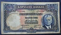 1934 LATVIA LATVIAN LETTLAND 50 LATU BANKNOTE NICE ORIGINAL VINTAGE - Letland