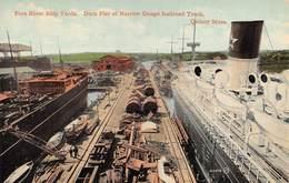"M08602 ""FORE RIVER SHIP YARDS-DOCK PIER AT NARROW GUAGE RAILROAD TRACK-QUINCY - MASS.""NAVI-TRENI-CART. ORIG. NON SPED. - Stati Uniti"