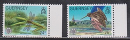 GUERNSEY Scott # 243-4 MH - Insect, Bird - Guernsey
