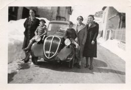 """FO--158-- FOTO ORIGINALE - AUTOMOBILE """" FIAT TOPOLINO """"NEVE - DONNE - BAMBINI - Automobili"""