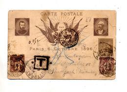 Carte Cachet Paris Sur Sage Taxée Stuttgart Nachgebuhr Illustré Portrait Paix  Centre Enfoncé - Manual Postmarks