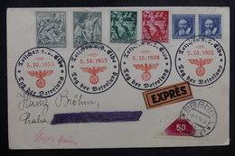 ALLEMAGNE - Enveloppe En 1938 De L 'annexion De La Tchécoslovaquie En Exprès Pour Praha, Oblitération Plaisante- L 41047 - Lettres & Documents