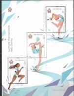 SAN MARINO, 2019, MNH, SPORTS, INTERNATIONAL WOMEN'S  DAY , GYMNASTICS, SKATING, TRACK, SHEETLET - Gymnastics