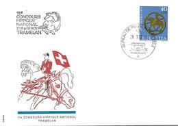 """74 - 79 - Enveloppe Avec Oblit Spéciale """"11e Concours Hippique National Tramelan 1972"""" D'après Dessin D'Erni - Postmark Collection"""