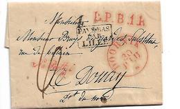 NLC045 / NIEDERLANDE - Dornik 1829. Nach Postschluss Eingeliefert L.P.B.1.R + PAYS BAS PAR LILLE - ...-1852 Vorläufer