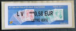 FRANCE - VIGNETTES ILLUSTREES - VIG 127 - SALON PHILATELIQUE D AUTOMNE - PARIS - 2010-... Illustrated Franking Labels