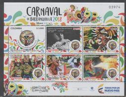 COLOMBIA, 2018, MNH, BARRANQUILLA CARNIVAL, COSTUMES, MASKS, DANCING, SHEETLET - Carnival