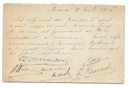 WWI 1915 SIGNATURES DES OFFICIERS DE L ETAT MAJOR DU GROUPE U DES CONVOIS AUTOMOBILES TM - POUR BERTHOUX NICE - CPA - Guerre 1914-18
