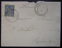 Condat (Puy De Dôme) 1901  Joli Cachet Tireté Sur Une Lettre Pour Ambert - Postmark Collection (Covers)