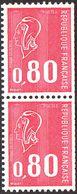 France Marianne De Béquet N° 1816 Bp ** Le 80c Rouge En Paire - Taille Douce - 3 Bandes Phosphore Gomme Tropicale - 1971-76 Maríanne De Béquet