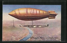 AK Paris, Zeppelin La Ville De Paris überfliegt Seine Und Eiffelturm - Dirigibili