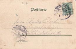 20260# GERMANIA Obl BOLLWEILER LAUTENBACH BAHNPOST ZUG 534 1903 BOLLWILLER AMBULANT ALSACE HAUT RHIN Pour SELESTAT - Marcophilie (Lettres)