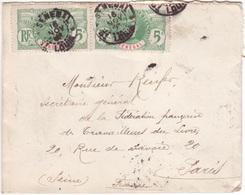 Sénégal Petite Lettre Type FAIDHERBE  Rare Oblitération Cachet DAGUIN Solo SAINT-LOUIS Traces De Foulage > PARIS 1908 - Senegal (1887-1944)