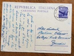 LATISANA *UDINE* 11/5/48  SU CARTOLINA POSTALE  L.8 PER BRINDISI - 6. 1946-.. Repubblica
