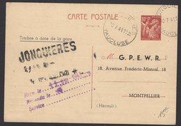 VAUCLUSE: 80c IRIS Carte InterZone Repiquage G.P.E.W.R. Avec CàD Type A5 + Cachet SNCF De JONQUIERES > MONTPELLIER - Entiers Postaux