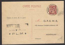 DROME: 80c IRIS Carte InterZone Repiquage G.P.E.W.R. Avec CàD Type A4 + Cachet SNCF MONTELIMART ENTREPOT > MONTPELLIER - Entiers Postaux